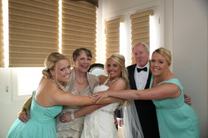 wedding family hug