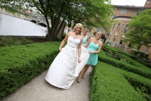 wedding walking with twins